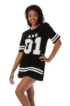 BLACK  WHITE JERSEY  LOOSE FIT SHORT SLEEVE OVERSIZED T SHIRT MINI DRESS M L #WearItLikeADiva #Tunic #Any