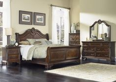 Liberty Furniture Highland Court Sleigh Bedroom Set in Rich Cognac Finish 620-BR