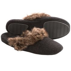 Great Acorn Cashmere Mule Slippers   Faux Fur Trim (For Women)