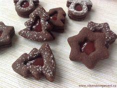 Kakaové linecké s marmeládou Christmas Candy, Christmas Baking, Christmas Cookies, Meringue Cookies, Sugar Cookies, Brownie Cupcakes, Czech Recipes, Gingerbread Cookies, Food And Drink