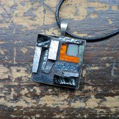 Grey and Orange Mosaic Pendant by Margaret Almon of nutmegdesigns on Etsy