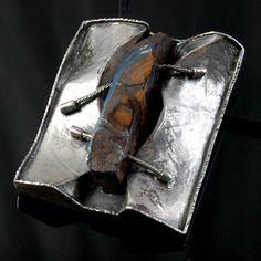 Piece / Title: Folded Silver Black Opal Pendant     Designer / Author: bruce Hartman