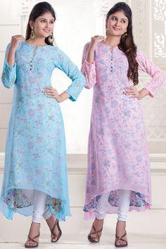 Light and baby multi color georgette presentable Pakistani Party Wear Dresses, Pakistani Outfits, New Kurti Designs, Designs For Dresses, Unique Dresses, Beautiful Dresses, Casual Dresses, Lehenga, Anarkali