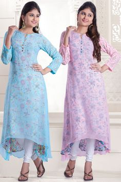 Light #blue and baby #pink multi color georgette presentable #kurti -WKR294