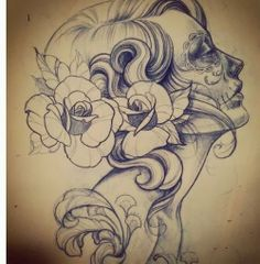 sugar skull drawing must have on my list Kunst Tattoos, Bild Tattoos, Neue Tattoos, Tattoo Sketches, Tattoo Drawings, Drawing Sketches, Pencil Drawings, Los Muertos Tattoo, Catrina Tattoo