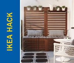 Awesome Ikea Hack of the Week: An apartment-sized patio bench and trellis Ikea Patio, Ikea Outdoor, Patio Bench, Apartment Balcony Decorating, Apartment Balconies, Ikea Hacks, Ikea Applaro, Garden Rack, Ikea Bench
