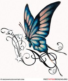 Butterfly tattoo design with swirls and stars