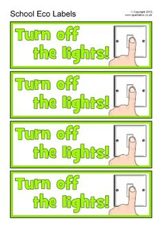 A set of labels to display around your school with eco-friendly reminders such as 'turn off the lights', 'close the door', 'turn off the tap' and 'use the recycle bins'. Smart School, I School, School Ideas, Free Teaching Resources, Teacher Resources, Science Lessons, Teaching Science, Eco Kids, Eco Label