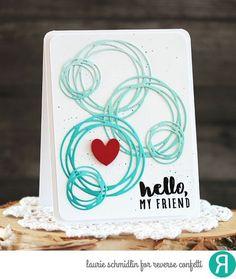 handmade card: Hello Friend by Laurie Schmidlin ... die cut scribbly, swirly…