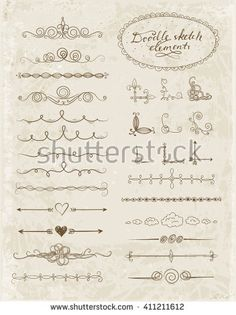 Set of doodle sketch decorative dividers, corners, text frames and borders isolated on vintage background. Vector illustration.