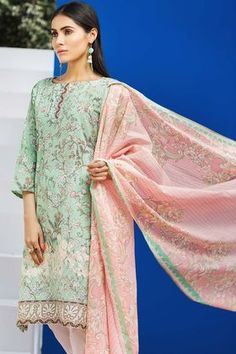 Khaadi 2 Piece Custom Stitched Embroidered Lawn Suit - Green - M18102