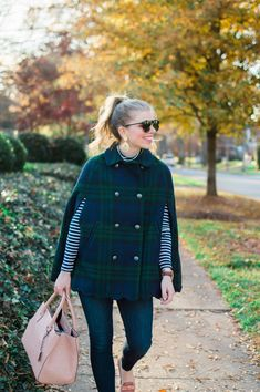 Blogger, Louella Reese, makes a season-right statement in the Talbots Scallop-Hem Cape!