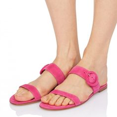 b3d93d1c2a63 Pink Open Toe Mule Comfortable Flats Buckle Summer Sandals for Date