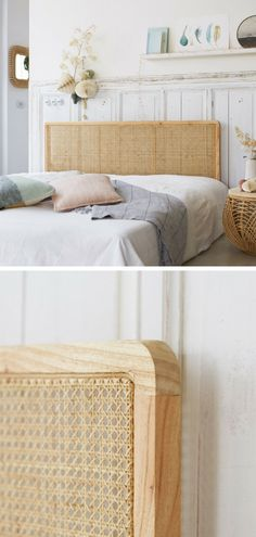 Headboard in caned. For your room, discover our double headboard Adele cane natural ra. Rattan Headboard, Diy Headboards, Headboard Designs, Headboard Ideas, Double Headboard, Solid Wood Dresser, Reupholster Furniture, Bedroom Furniture, Cosy Bedroom