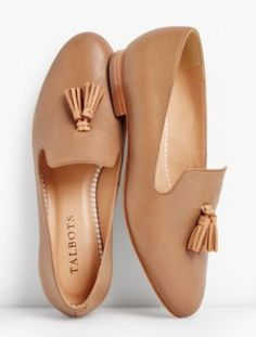 Talbots: Frannie Burnished Tassel Flats Leather - Loafers, Flats and tennis. Shoe Boots, Shoes Sandals, Ankle Boots, Flat Sandals, Cute Shoes Flats, Flat Shoes Outfit, Shoes Sneakers, Buy Shoes, Vans Shoes
