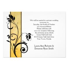 Yellow Ombre Black Floral Swirls Reception Only
