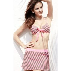 Sanqi two piece swimsuits with cover up, striped skirted two piece bikini have 82% Nylon and 18% Spandex - fabric composition allows for enough stretch and a comfortable feel  and  soft cup bra provides support and comfort