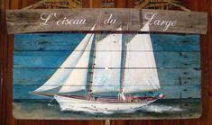 """""""L'Oiseau du Large """" . Peinture sur bois."""