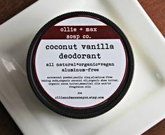 Coconut Vanilla Natural Deodorant Aluminum Free 2oz Cream Deodorant, Organic Deodorant,Vegan Deodorant