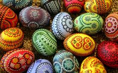pisanki –polish decorated eggs.  For older kids/adults after dyeing with basic color use fine point permanent marker for details.