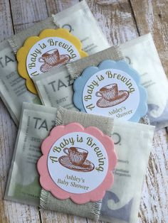 These custom tea bag favors add style and color to place settings or displayed in baskets or on trays. Your guests will love sipping the premium Tazo tea (of Starbucks fame!).....   FROM ME: (8) ~ Customized and fully assembled tea bag favors, each consisting of:  ~ 2 Tazo tea bags  Earl Grey ~ Black tea with Bergamots lavender essence Zen ~ A harmonious blend of green tea with lemongrass & spearmint ~ White glassine bag folded to 4 1/2 x 3 1/2 (Size may vary slightly) ~ A Baby ...