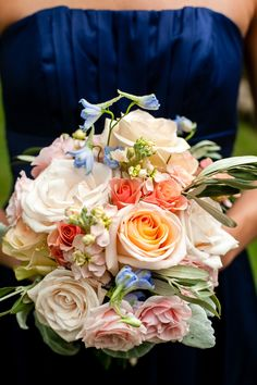 A Vintage Tennessee Pastel Wedding. I love the touches of blue mixed in with the peachy shades. Flower Bouquet Wedding, Bridesmaid Bouquet, Flower Girl Wreaths, Floral Bouquets, Bridal Bouquets, Special Flowers, Cream Wedding, Next Wedding, Flower Decorations