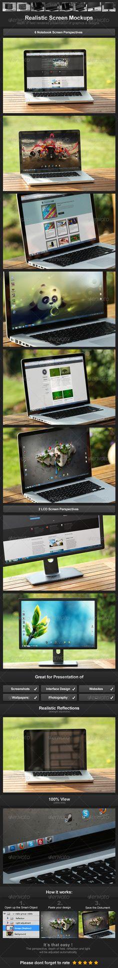 Realistic Screen Mockups - Monitors Displays