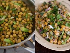 pan fried chickpea salad-vary by adding sun dried tomatoes, fresh basil, lemon juice and zest. Leave out yogurt, curry powder and cilantro.