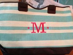 Thirty-One NEW SPRING 2014 Product! Coral on turquoise thread .. on euro tote!  Love this new tote!  Is it time to head to the beach?!? http://mythirtyone.com/465970