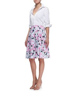 Basic Button-Front Shirt & Love Letter Party Skirt by Carolina Herrera at Neiman Marcus.