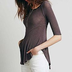 Free People Weekends Layering Top in Taupe Combo