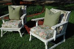 old wooden couch and chair makeover. I think these would be great covered patio furniture Redo Furniture, Chair Makeover, Porch Furniture, Screened In Porch Furniture, Wooden Lawn Chairs, Couch Makeover, Wooden Couch, Chair, Painted Couch