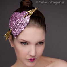 Pink Heart Fascinator Pink and Gold Cupids hearts by JanineBasil