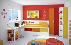 kinderzimmer für jungs gelb orange rot farben gradierend ausstattung wanddeko wanduhren