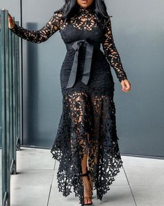 Sexy Lace Dress with bow, mermaid dress in plus size, long sleeve, turtleneck, black lace asymmetrical dress for women who want to catch=h the attention of everyone. Plain Dress, The Dress, Gown Dress, Dress Shoes, Shoes Heels, Cheap Prom Dresses, Women's Dresses, Long Dresses, Party Dresses