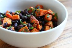 Lime Cilantro Sweet Potatoes with Black Beans as adapated from epicurious by catesworldkitchen: So simple, this can be easily adapted to many cuisines. Enjoy it as a side or use it as the base for a main dish salad! #Black_Beans #Sweet_Potatoes #catesworldkitchen