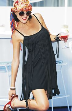 Resort Getaway Essential: Poolside Drink & Fringed Cover-Up Dress #Nordstrom