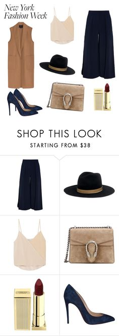 """""""New York Fashion week style"""" by hanakalesic ❤ liked on Polyvore featuring Roksanda, Janessa Leone, Chelsea Flower, Gucci, Lipstick Queen, Christian Louboutin, Alexander Wang, StreetStyle and NYFW"""