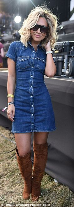 Stylish: The former Hear'Say singer showed off her slender waist in a fitted denim mini-dress which she left slightly unbuttoned