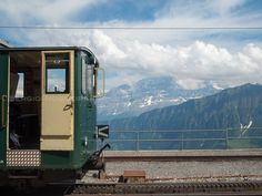 Train and mountains  Bernese Alps, Switzerland