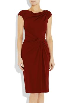 Michael Kors Draped crepe-jersey dress: Merlot crepe-jersey; Draped boat neck, twist at shoulder, cap sleeves, off-center draped twist detail at waist, partially lined; Concealed hook and zip fastening at back; $1,295