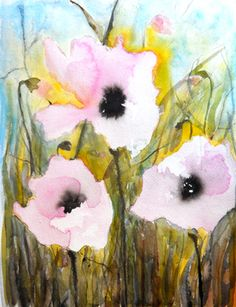 "Pink Poppies V - Saatchi Online Artist Karin Johannesson; Painting, ""Pink Poppies V"" #art"