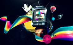 Retro television surrounded by a rainbow HD Wallpaper