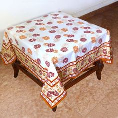 Cotton Tablecloth Square 137 X 137 Summer Decor Indian Floral Cotton by ShalinCraft, http://www.amazon.co.uk/dp/B00BLIWEIG/ref=cm_sw_r_pi_dp_FhCjsb1Y28TEM