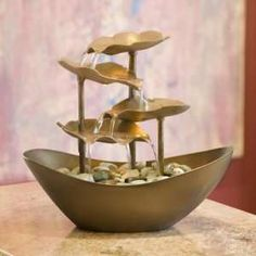 Copper Leaf Table Fountain - what about recreating with clay/ concrete cast leaves