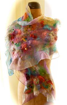 Nuno Felted Silk Chiffon Scarf Wool Glitz Mohair by DesignsByDalis, $120.00
