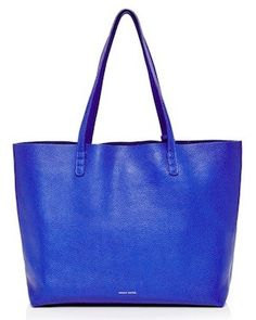 Tumble Leather Tote In Royal