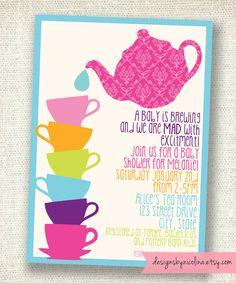 Mad Tea Baby Shower - Alice in Wonderland - Tea Party - PRINTABLE Party Invitations. $12.00, via Etsy.