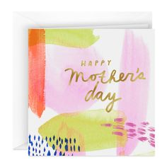 Share a happy Mother's Day wish with this pretty greeting. Square Mother's Day card features a pastel wash of watercolor with embossed gold foil accents. Happy Mothers Day Wishes, Happy Mother's Day Card, Mothers Day Gifts From Daughter, Diy Mothers Day Gifts, Watercolor Birthday Cards, Watercolor Cards, Watercolour, Vintage Birthday Cards, Mom Cards