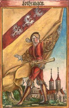 """Lothringen [Lothringen] (= Lorraine) (f°13) -- Koebel, Jacob, """"Wapen des heyligen römischen Reichs teutscher Nation"""", Franckfurth am Main, 1545 [BSB Ms. Rar. 2155]"""